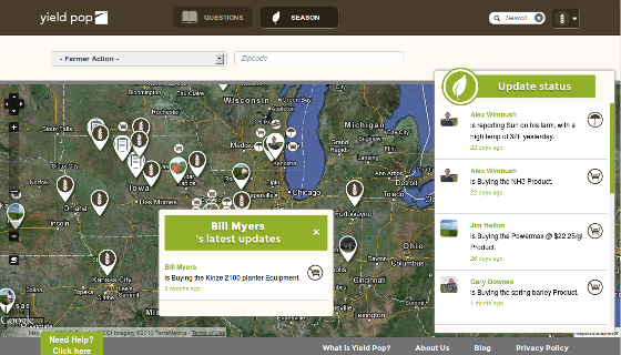 Yield Pop free online service designed for agriculture information sharing